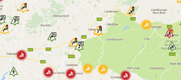 Carmarthenshire Roadworks Map